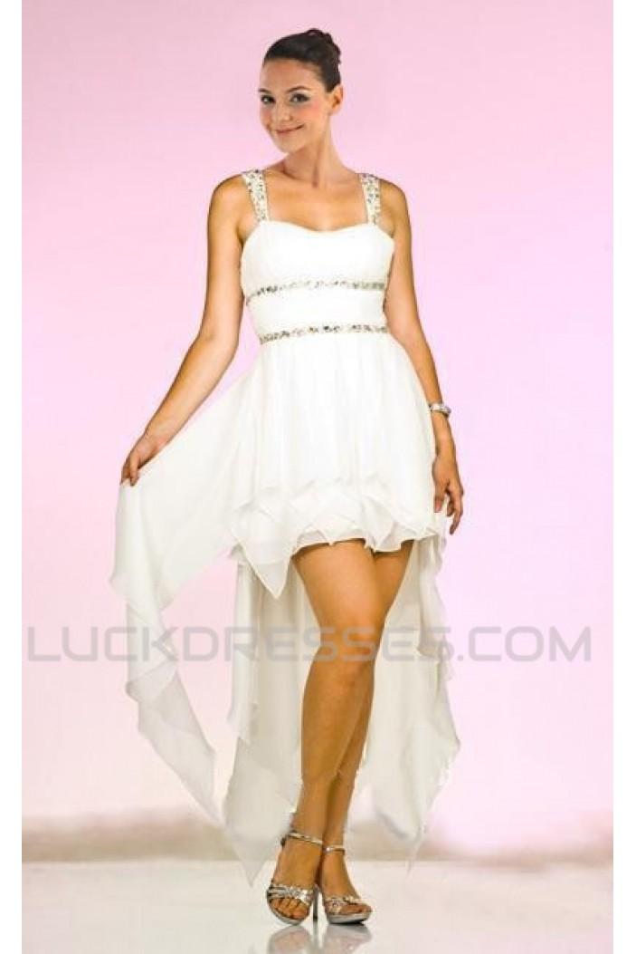 High Low Beaded Straps Chiffon Prom Evening Dresses ED010847