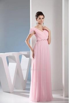 A-Line Cap Sleeve Long Pink Chiffon Prom Evening Dresses ED010850