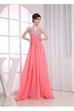 A-Line Beaded Straps Long Chiffon Prom Evening Formal Dresses ED010855