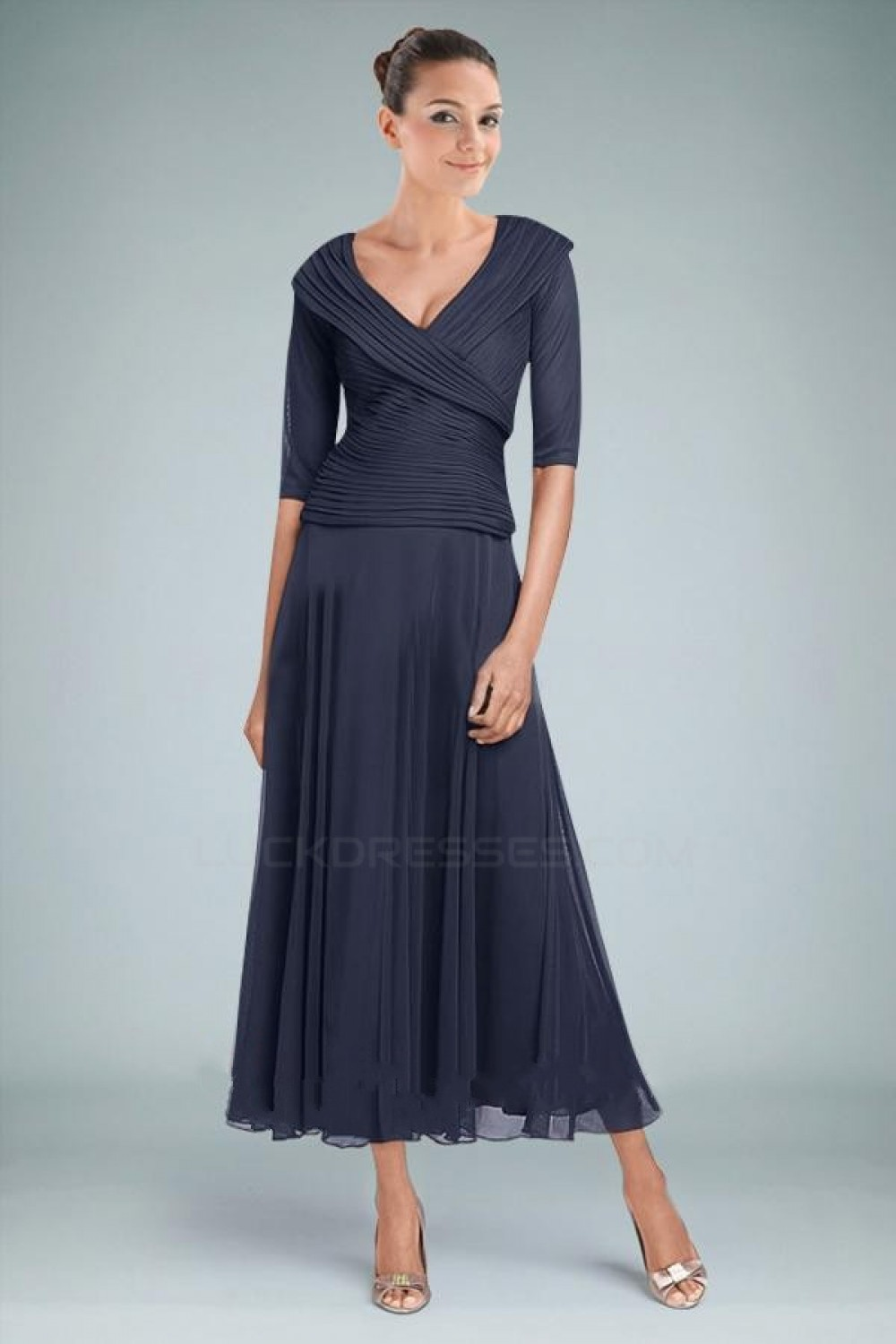 A-Line Half Sleeve Chiffon Mother Of the Bride Dresses Evening ...