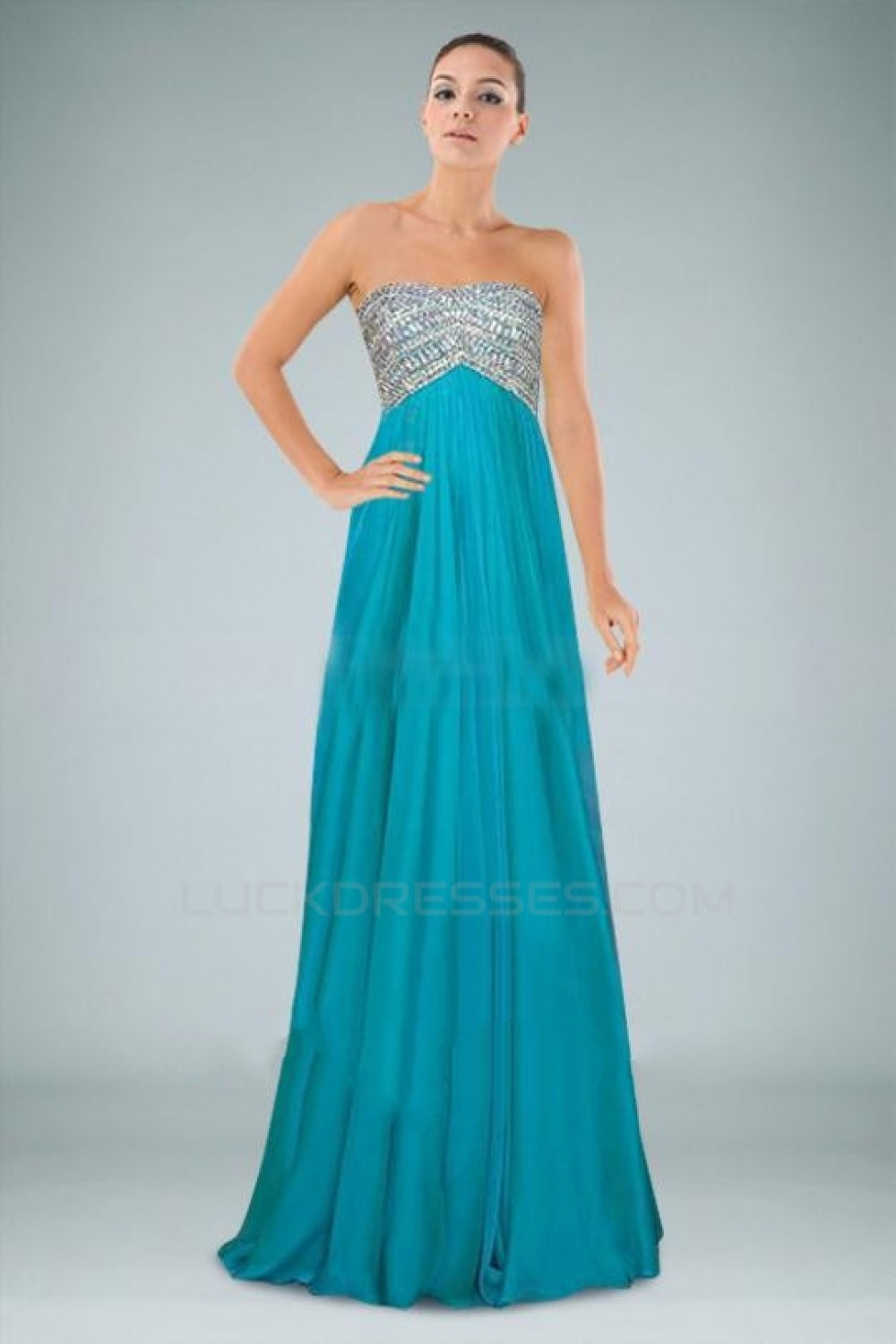 Empire Beaded Long Chiffon Prom Evening Formal Dresses