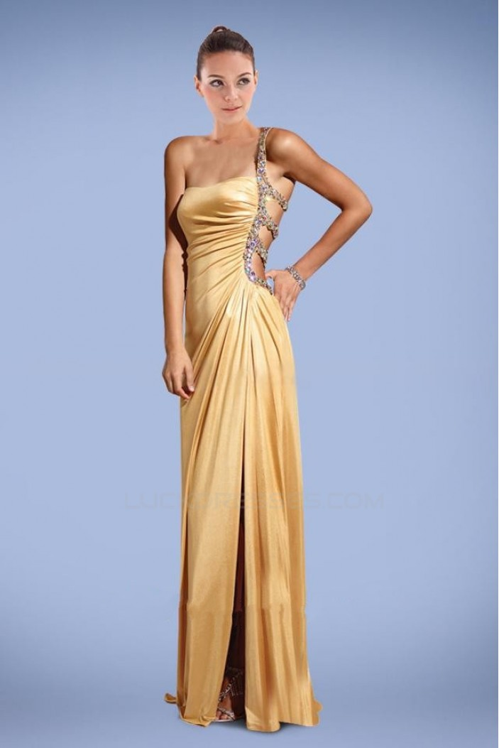 Sheath One-Shoulder Split-Front Beaded Long Prom Evening Formal Dresses ED010883