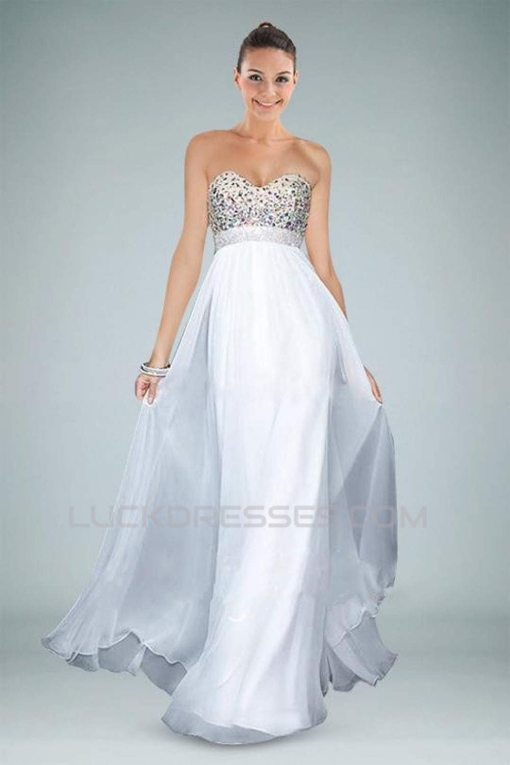 A-Line Sweetheart Beaded White Long Chiffon Prom Evening Formal ...