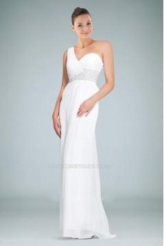 Sheath/Column One-Shoulder Beaded Blue Long Chiffon Prom Evening Formal Dresses ED010902