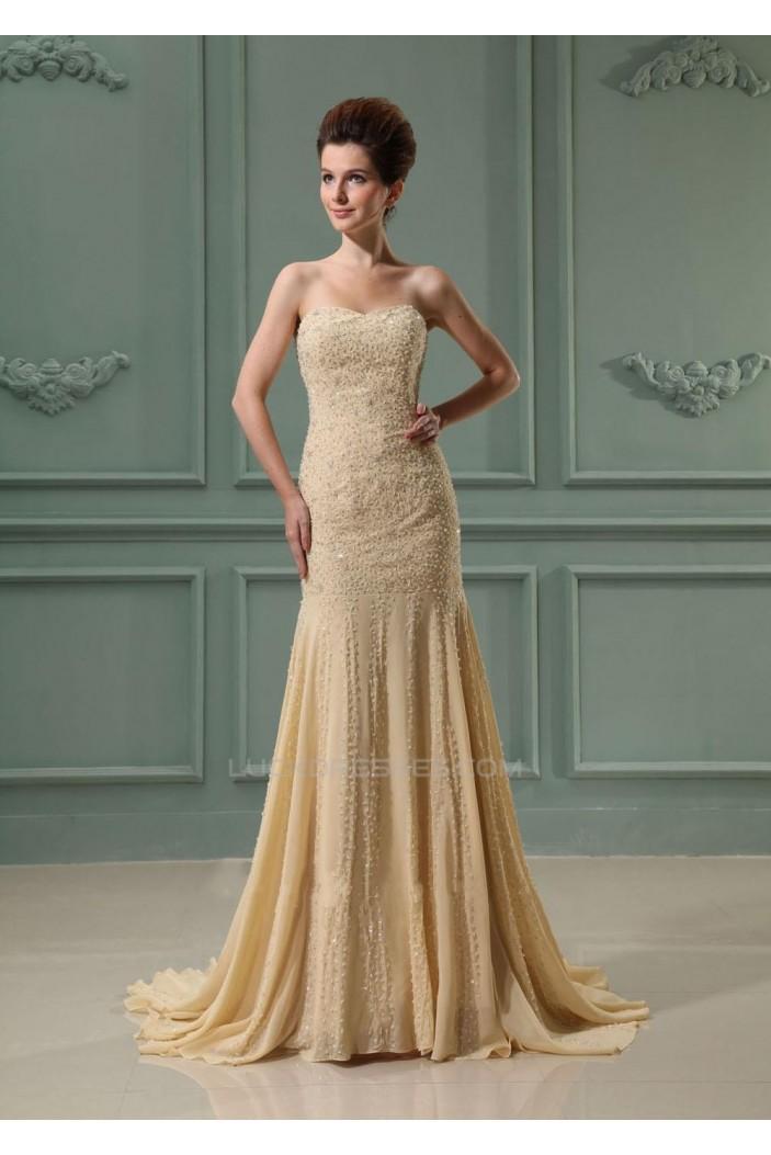 Trumpet/Mermaid Sweetheart Beaded Long Chiffon Prom Evening Formal Dresses ED010909