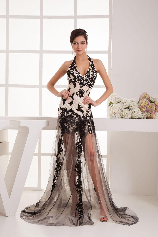 Sheath Halter Black Appliques Long Prom Evening Formal