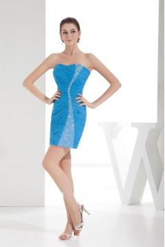 Short/Mini Beaded Strapless Chiffon Prom Evening Formal Dresses ED010938