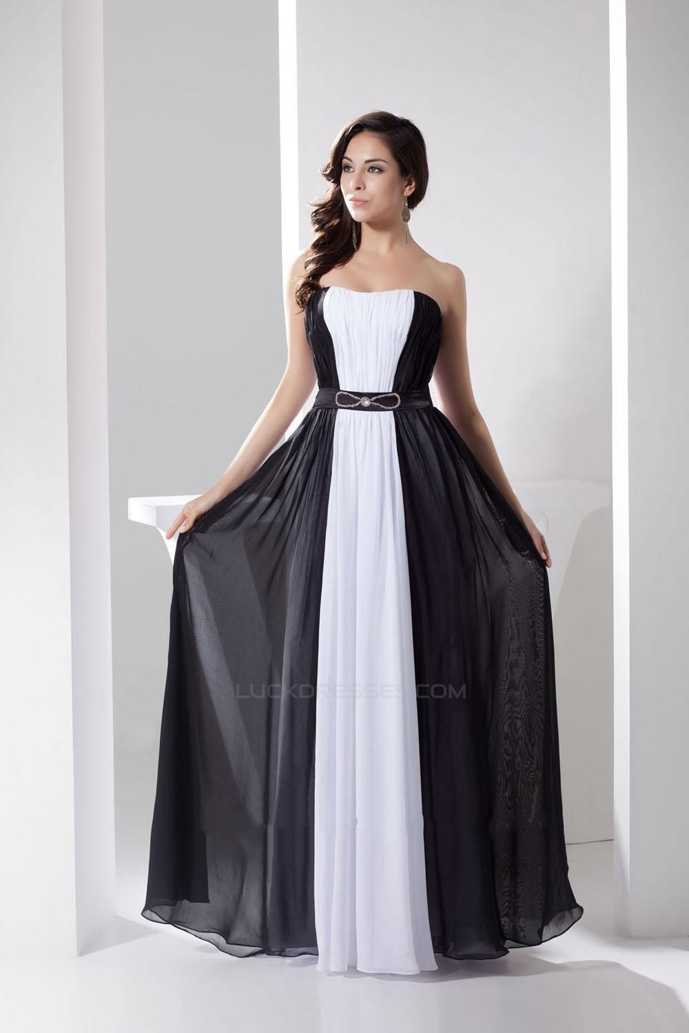 A-Line Strapless Black White Beaded Long Chiffon Prom Evening ... f41881ab6