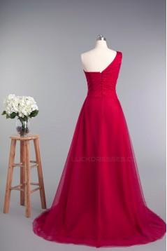 A-Line One-Shoulder Long Tulle Prom Evening Formal Dresses ED010964