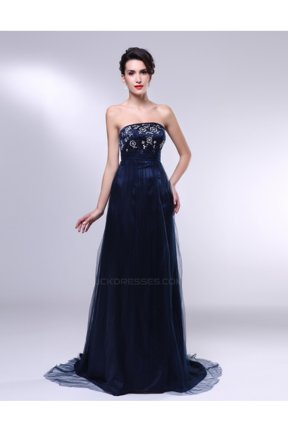 A-Line Strapless Navy Blue Long Prom Evening Formal