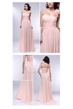 A-Line One-Shoulder Long Chiffon Prom Evening Formal Dresses ED010972