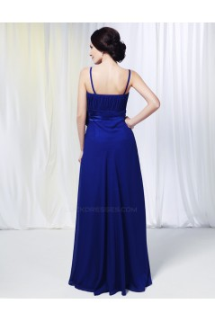 A-Line Spaghetti Strap Long Blue Chiffon Prom Evening Formal Dresses Bridesmaid Dresses ED010978