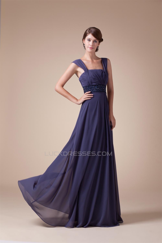 A-Line Beading Straps Floor-Length Chiffon Long Prom Evening Formal ...