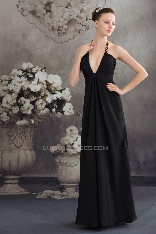 A-Line Floor-Length Halter Beading Chiffon Long Black Prom/Formal ...