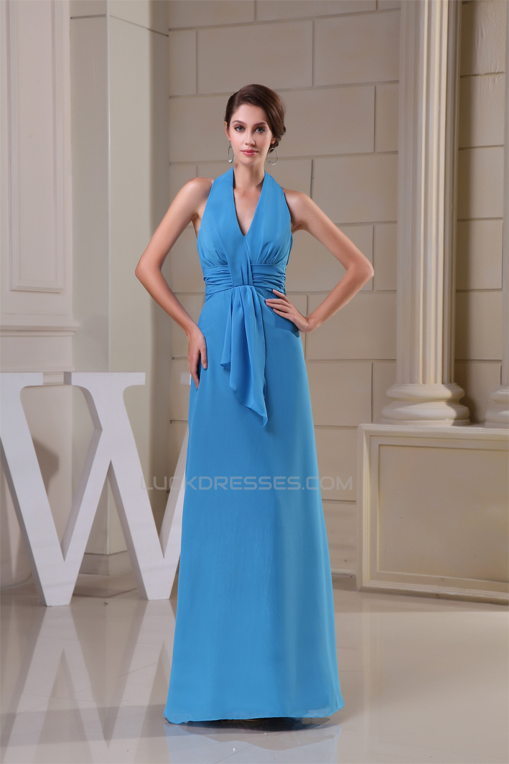 Line Floor-Length Ruched Halter Sleeveless Long Blue Party Formal ...