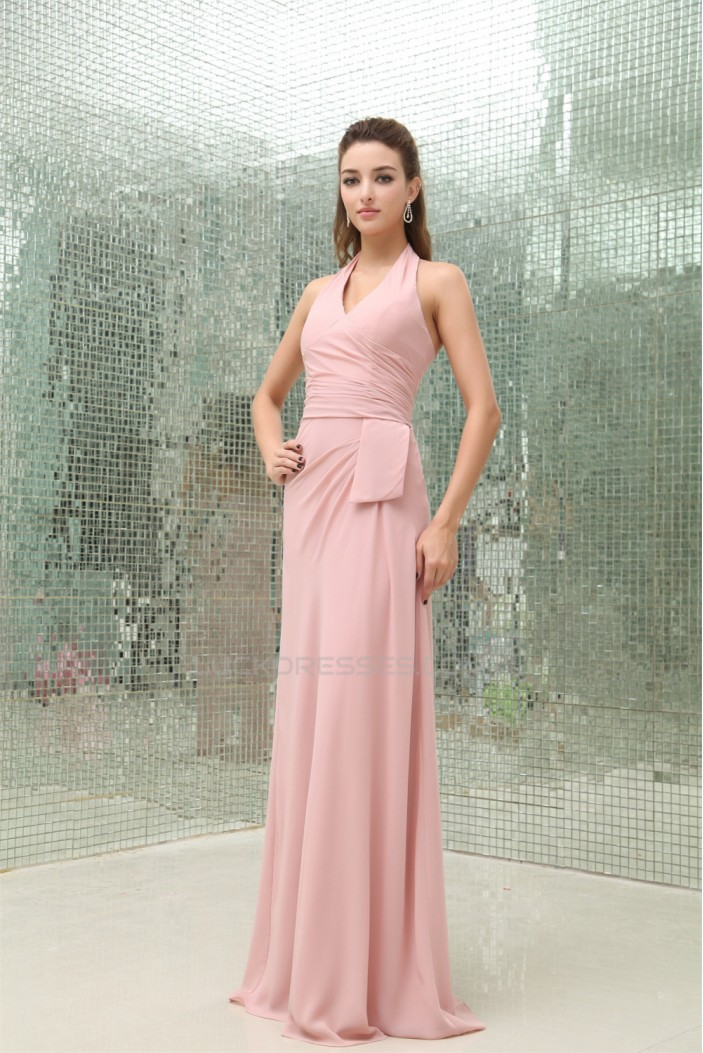 Affordable Sheath/Column Pleats Halter Floor-Length ...