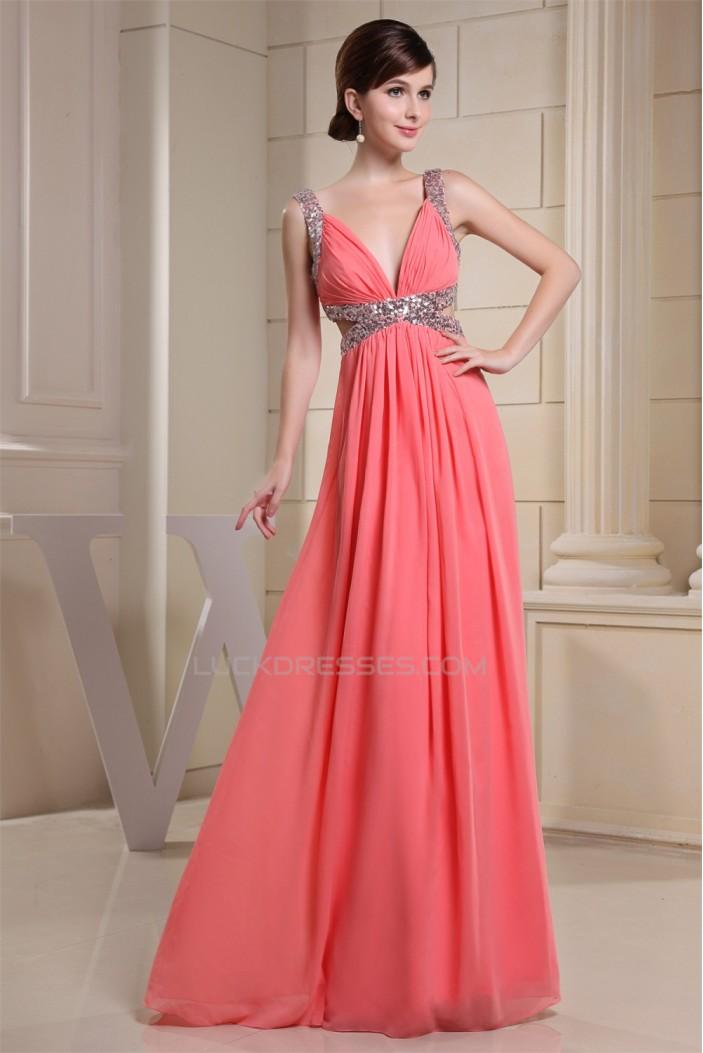 A Line Ruffles Chiffon V Neck Sequins Long Prom Formal