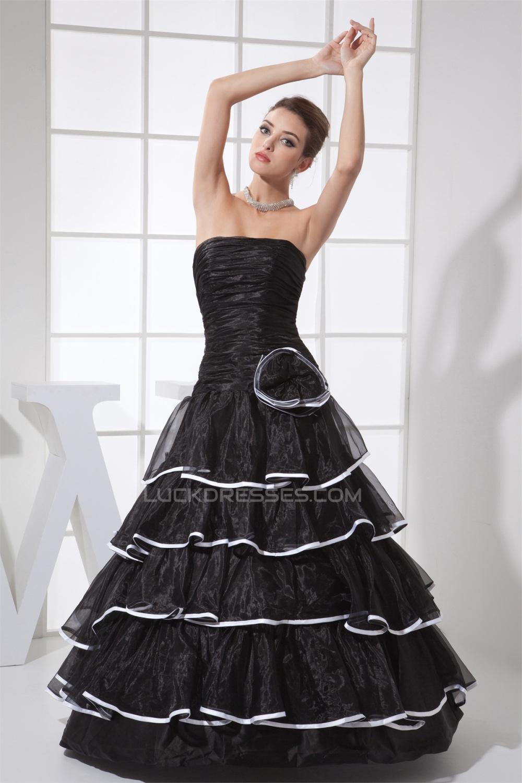 4442ad2f9a A-Line Ruffles Floor-Length Satin Organza Long Black Prom Formal Evening  Dresses 02020028