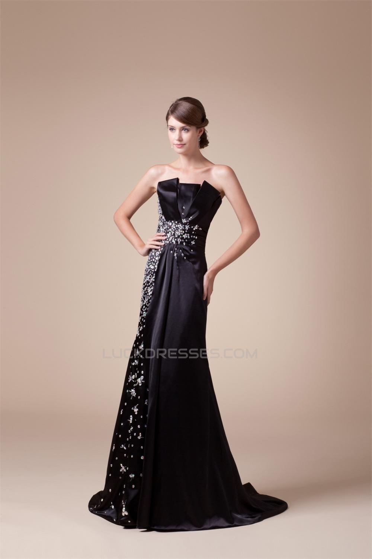 e8d4014b2de Trumpet Mermaid Strapless Silk like Satin Sleeveless Beaded Long Black Prom Formal  Evening Dresses 02020044