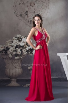 Empire V-Neck Sleeveless Beading Chiffon Long Prom/Formal Evening Dresses Maternity Evening Dresses 02020051