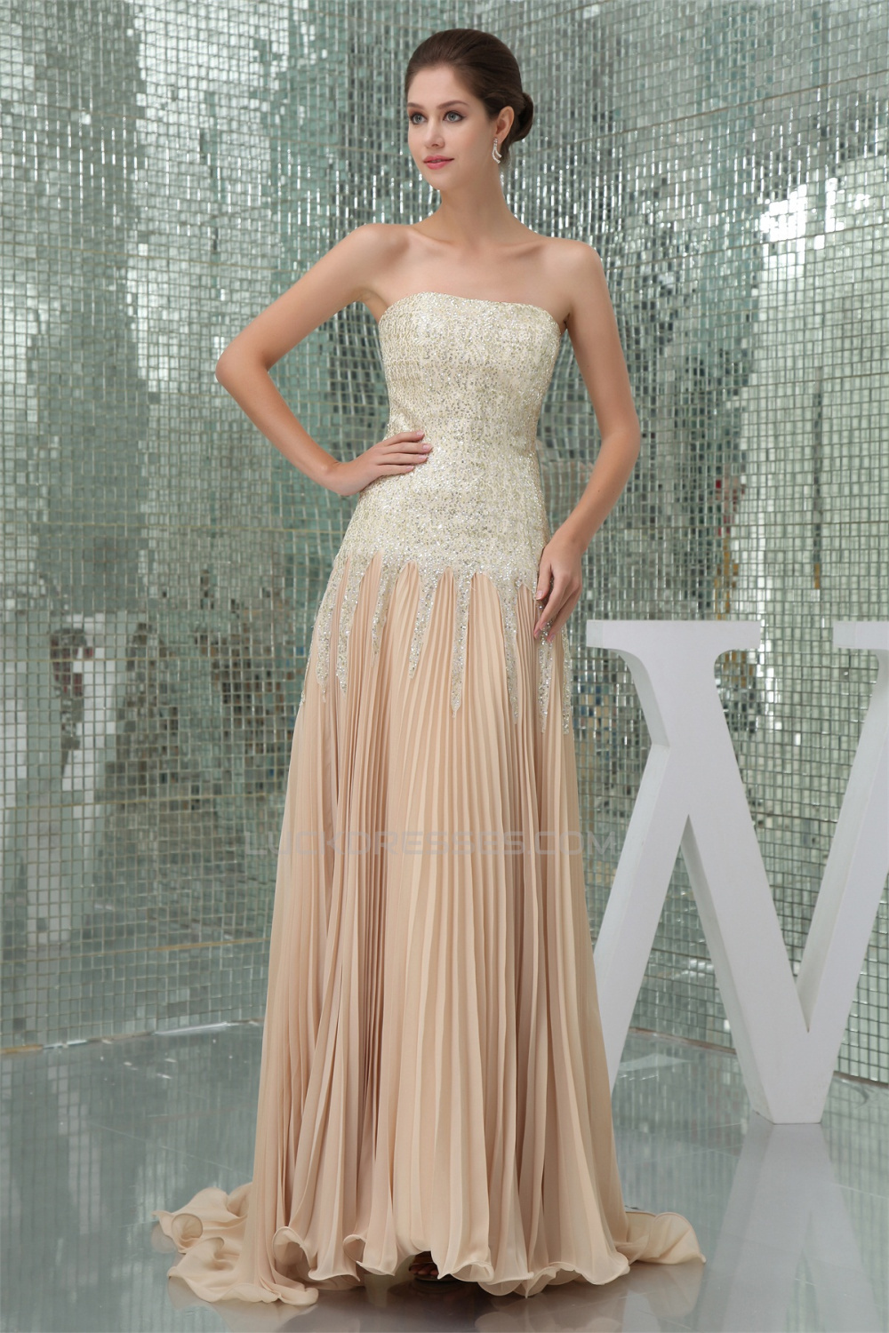 Asymmetrical Ruffles Chiffon Sequined Material Prom Formal