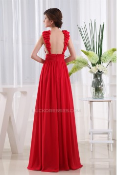 A-Line Floor-Length Chiffon Beaded Long Red Prom Evening Party Dresses 02020064