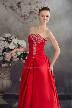 Beading A-Line Strapless Floor-Length Taffeta Long Red Prom/Formal Evening Dresses 02020068