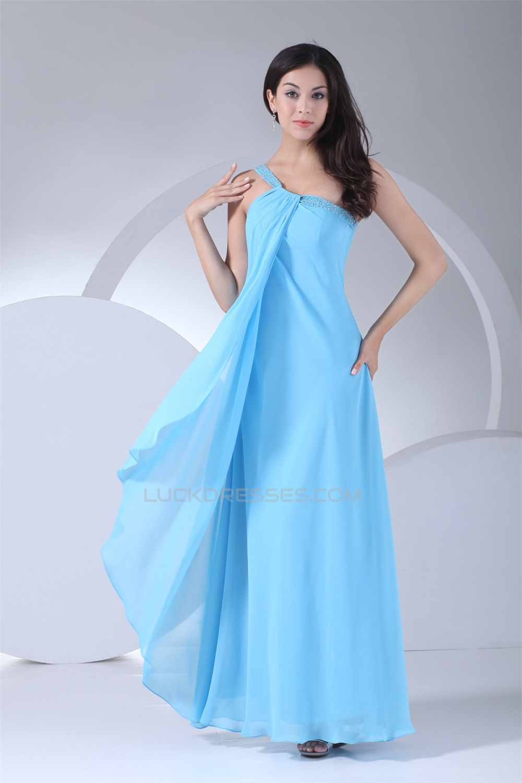 Beading Chiffon Silk like Satin One-Shoulder Long Blue Prom Evening ...