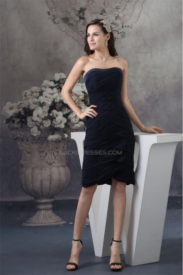 Beautiful Sleeveless Chiffon Knee Length Strapless Bridesmaid