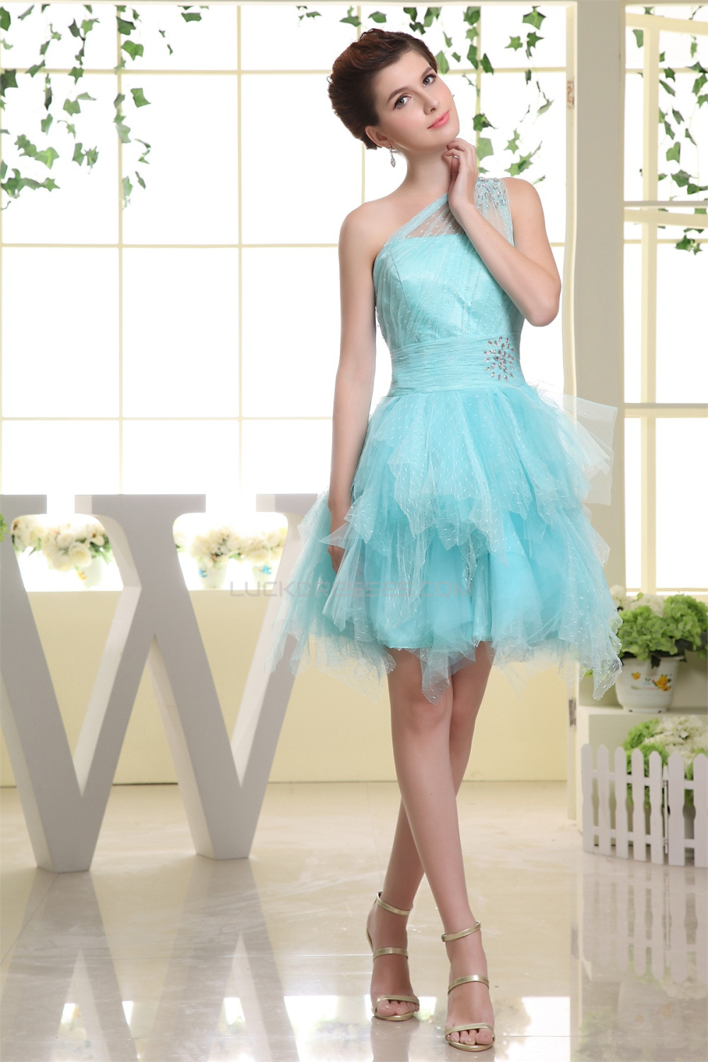 Charming Satin Netting Material One-Shoulder A-Line Homecoming ...