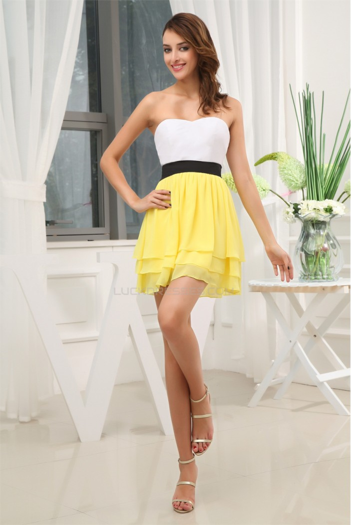 Chiffon Silk like Satin Short/Mini Sweetheart Prom/Formal Evening Dresses 02021076