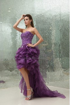 High Low Beading Satin Organza Sleeveless A-Line Homecoming Cocktail Party Dresses 02021078