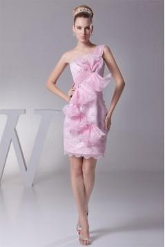 Knee-Length Sheath/Column Beading One-Shoulder Evening Party Dresses 02021087