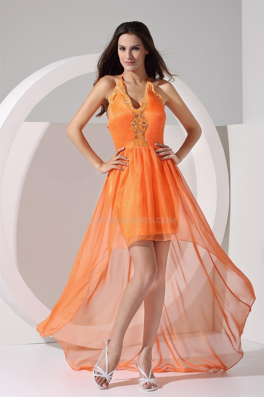Lace A Line Sleeveless Chiffon Elastic Silk Like Satin