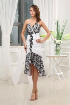 Mermaid/Trumpet Asymmetrical Satin Taffeta Lace Homecoming Dresses 02021094