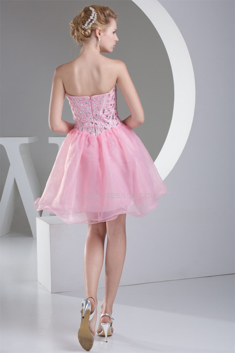 Organza Silk Like Satin Sleeveless Short Mini Homecoming
