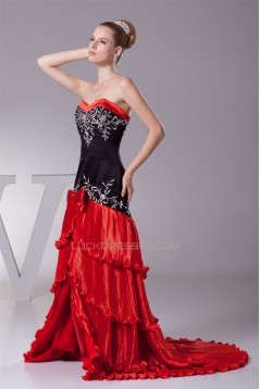 Brush Sweep Train Black Red Long Prom/Formal Evening Dresses 02020113