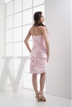 Sheath/Column Knee-Length Strapless Cascading Ruffles Prom/Formal Evening Dresses 02021135