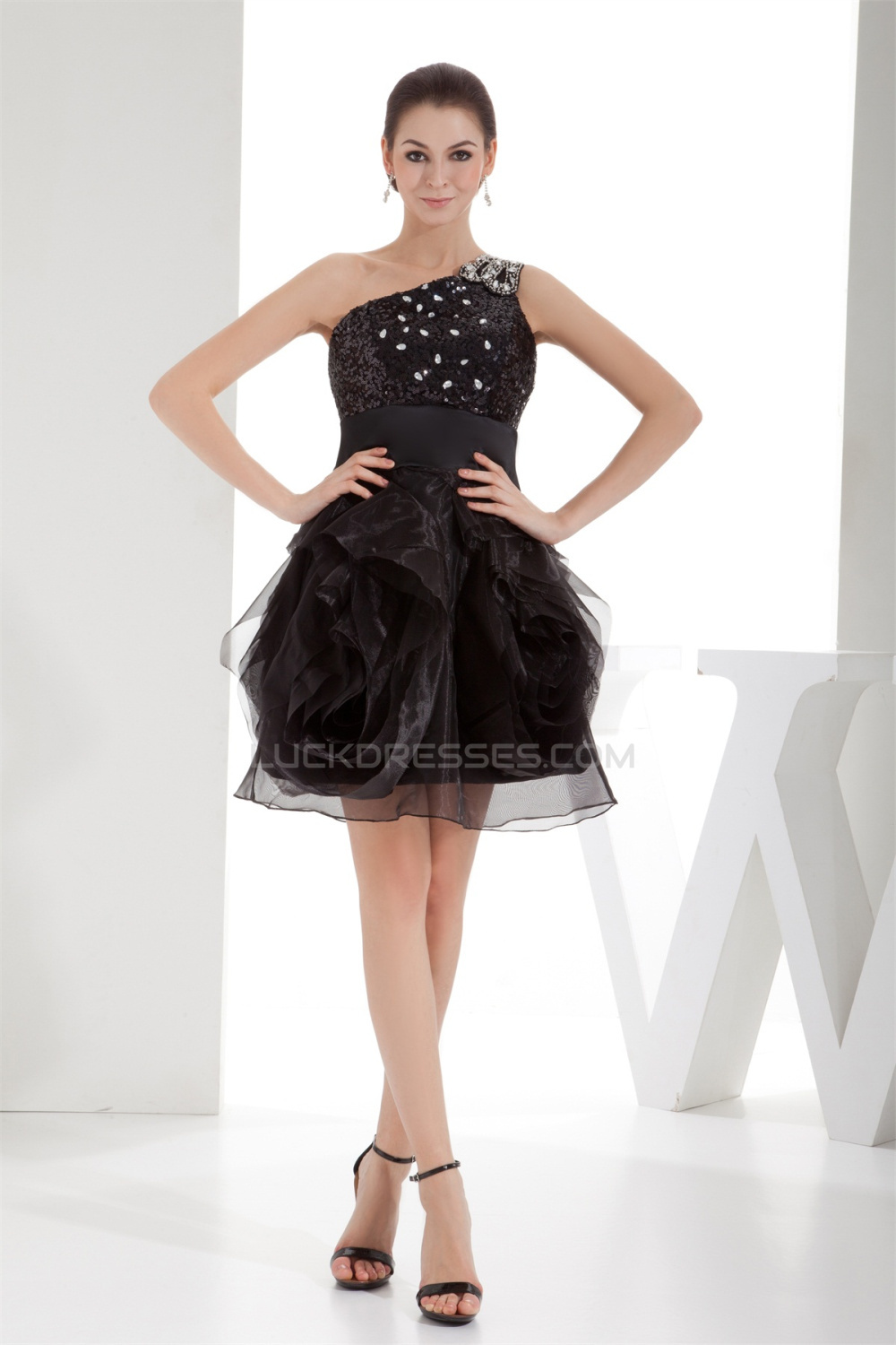 98aba3102c98 Short/Mini Beading Lace Tulle Fine Netting Little Black Dresses 02021159