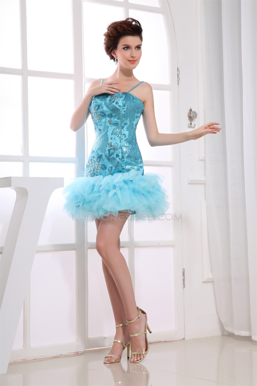 Short Mini Ruffles Silk Like Satin Fine Netting Prom