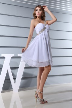Short/Mini Sleeveless Chiffon One-Shoulder White Prom/Formal Evening Dresses 02021183