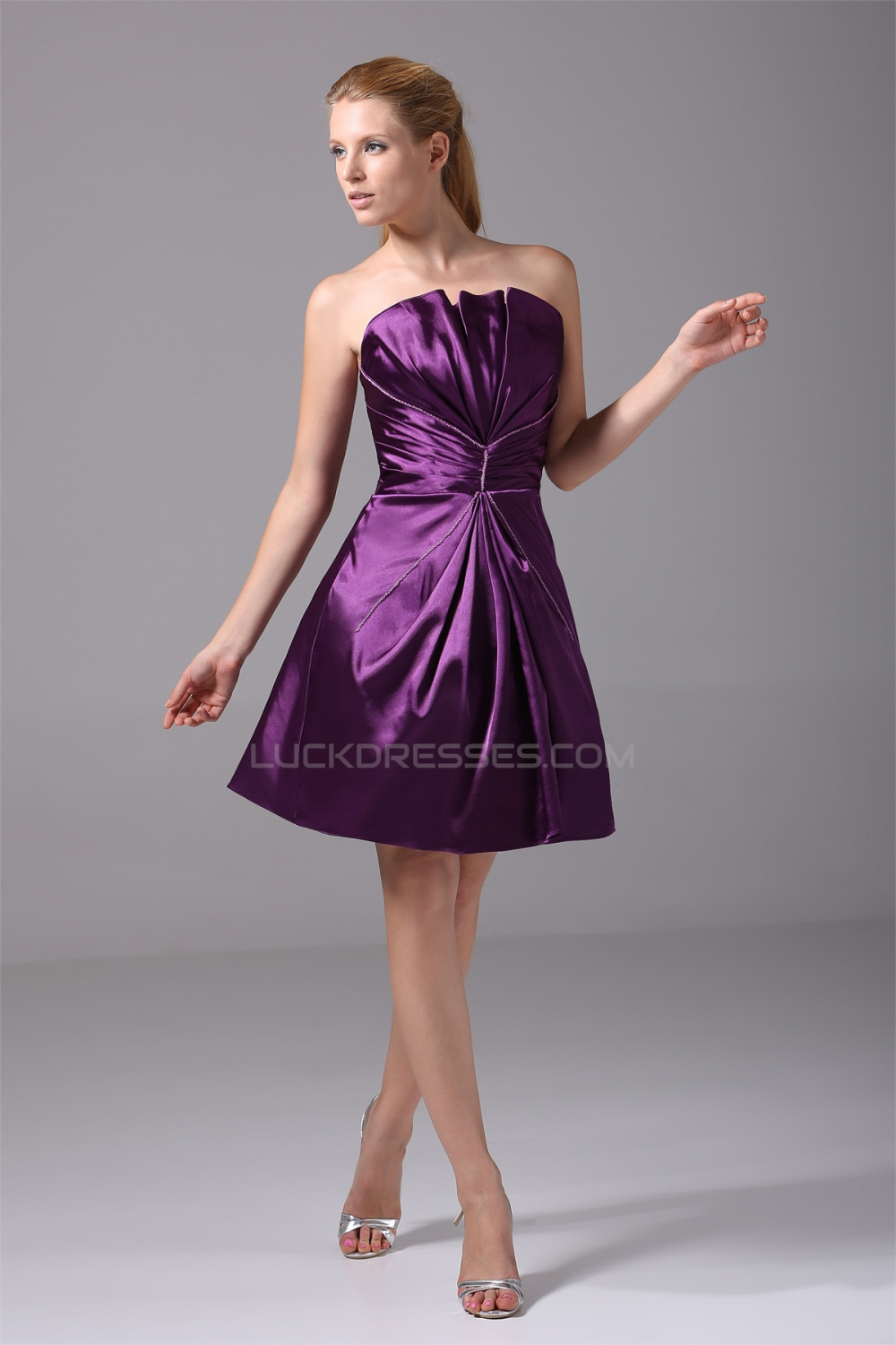 3b5072a8d8d Sleeveless Silk like Satin A-Line Short Mini Purple Prom Formal Evening  Bridesmaid Dresses 02021230