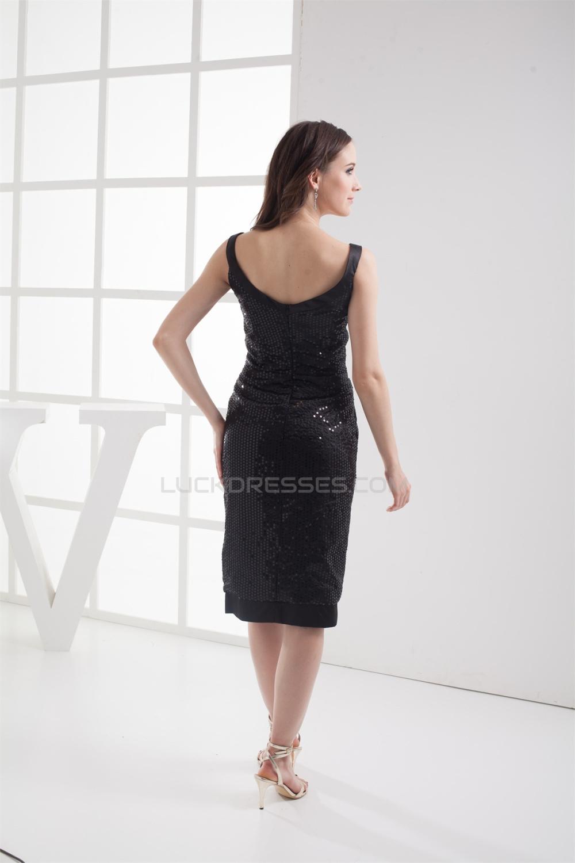 Sleeveless V Neck Knee Length Sheath Column Prom Formal