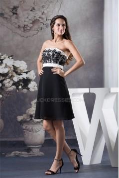 A-Line Strapless Sleeveless Short/Mini Chiffon Lace Black White Prom/Formal Evening Dresses 02021252