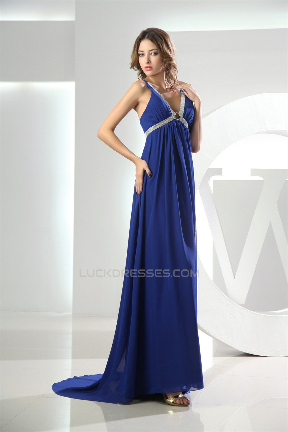 Empire Brush Sweep Train V-Neck Long Blue Chiffon Evening Formal ...