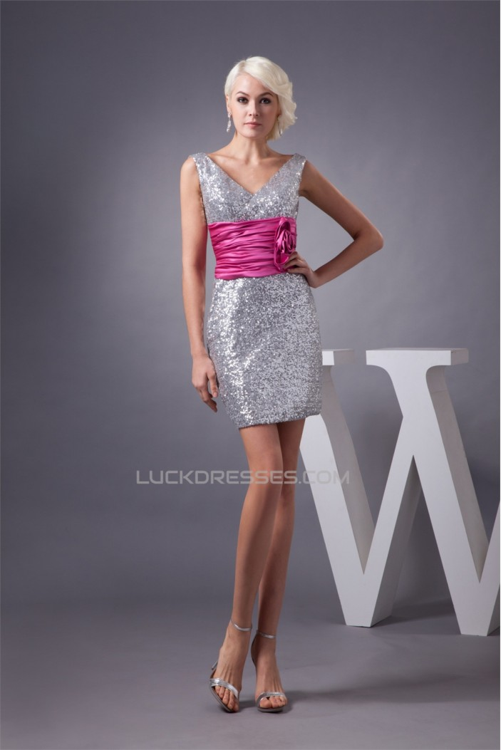 Charming Short/Mini Sheath/Column Sequins Dresses Evening Party Bridesmaid Dresses 02021309
