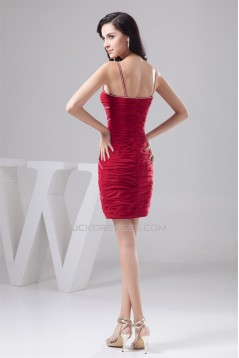 Chiffon Spaghetti Straps Short Red Prom/Formal Evening Dresses 02021316