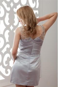 Elastic Woven Satin Illusion Short/Mini Prom/Formal Evening Dresses 02021318