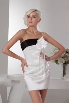 Handmade Flowers Sheath/Column Strapless Prom/Formal Evening Dresses 02021327