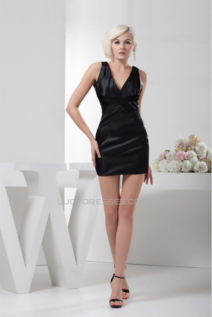 Satin Silk like Satin Sheath/Column V-Neck Little Black Dresses 02021346